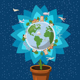 Globe gently flower ecology concept, cartoon style Royalty Free Stock Image