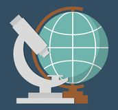 Globe geography tool icon. Geography globe ans microscope tool  icon over blue background. colorful design. vector illustration Royalty Free Stock Photo
