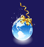 Globe with a gift ribbon. Vector illustration Royalty Free Stock Image