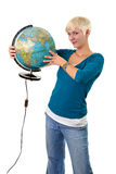 Globe girl Royalty Free Stock Image