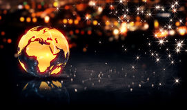 Globe Glass Crystal Gold City Light Shine Bokeh 3D Background Stock Photo