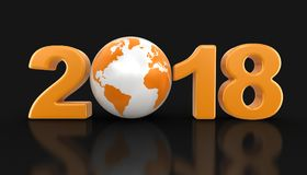 Globe with 2018. Image with clipping path Stock Photos