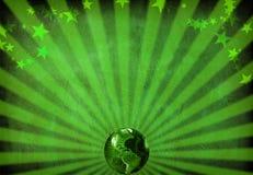 Globe. Rays and stars background Stock Image
