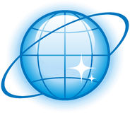 Globe Glossy Vector Icon. Vector icon for web, software etc. on white background Stock Photography