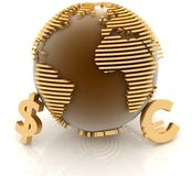 Globe with gold currency symbols. 3d globe with gold currency symbols on white background Royalty Free Stock Image