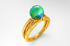 Globe in Gold Ring Royalty Free Stock Photography