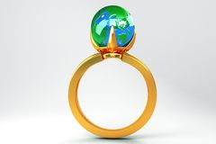 Globe in Gold Ring Stock Photos