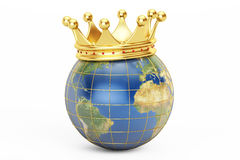 Globe with golden crown, 3D rendering Royalty Free Stock Photo