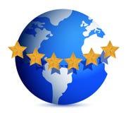 Globe with golden stars around Royalty Free Stock Image