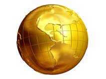 Globe. Golden globe with view of America Royalty Free Stock Photo