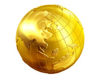 Globe. Golden Globe with view of Asia Royalty Free Stock Photos