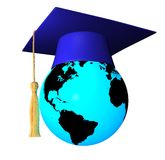 Globe with graduation cap Stock Photo