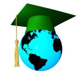 Globe with graduation cap Stock Images