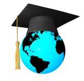 Globe with graduation cap Stock Images