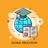 Globe with graduation cap and opened book. Modern concept of global education, international student exchange program. Studying abroad. Vector illustration for Royalty Free Stock Image