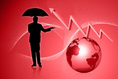 Globe and graph with business man Stock Image