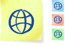 Globe graphic on sticky note Stock Images