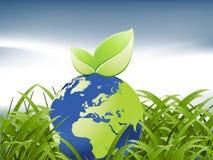 Globe between grass Stock Image