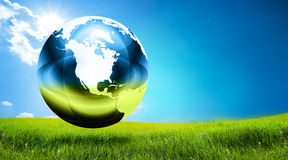 Globe on grass Royalty Free Stock Image