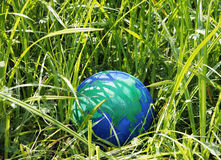 Globe in the grass Royalty Free Stock Images