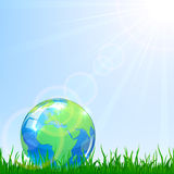 Globe in a grass. Shiny Globe in a grass on blue sky background, illustration Royalty Free Stock Photo