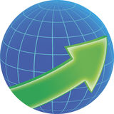 Globe and green arrow Stock Photography