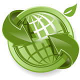 Globe and green arrows Stock Photography