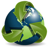 Globe and green arrows Royalty Free Stock Images