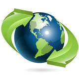 Globe and green arrows Royalty Free Stock Photography
