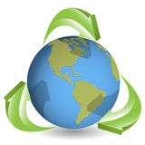 Globe and green arrows Royalty Free Stock Image