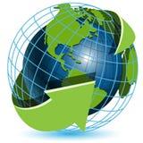 Globe and green arrows stock illustration