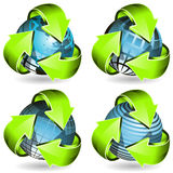 Globe And Green Arrows Stock Image