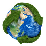 Globe with green arrows covered with grass presented Stock Image