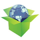 Globe and green box. Globe illustration design inside a green box isolated over a white background Royalty Free Stock Images