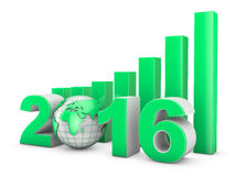 2016 Globe and green diagram. On the white background Stock Photos