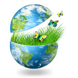 Globe on the green grass Stock Image