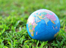 A globe on green grass Royalty Free Stock Photo