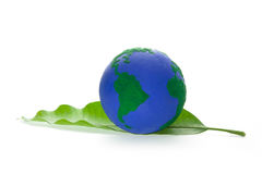 Globe on Green Leaf. World Globe Maps - Globe on Green Leaf stock photos