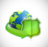 Globe and green shield illustration design Royalty Free Stock Images