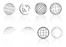 Globe grid reflection - vector Royalty Free Stock Photography