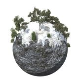 Globe Ground Cold Mountain. A surreal cold mountain nature isolated on a Globe Royalty Free Stock Photo