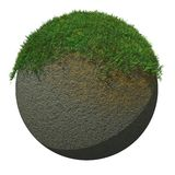 Globe Ground with Grass. Surreal grass isolated on a Globe Stock Image