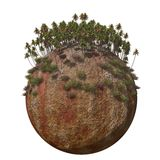 Globe Ground Hot Mountain. A surreal tropical mountain isolated on a Globe Stock Photography
