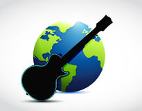 Globe and guitar illustration design Royalty Free Stock Images