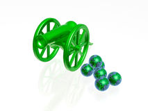 Globe gun. Globe cannon - cannon with earth balls on white background Royalty Free Stock Photography
