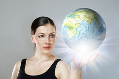 Globe in hand Royalty Free Stock Photo