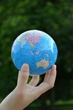 Globe on hand. With green Stock Images