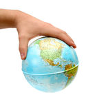 Globe in hand Stock Photo
