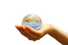 Globe in hand Stock Photography