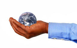 The globe in a hand. The earth image courtesy of NASA royalty free stock image